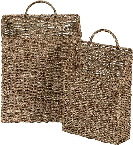 Amazon Com Household Essentials Ml 5613 Seagrass Wall Basket Set 2 Piece