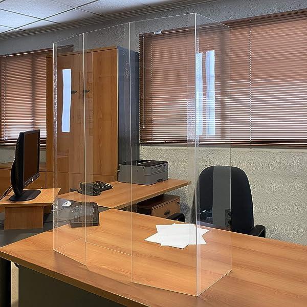 Pantalla Protección Mostrador 130x90cm - Fabricado en Foam 10mm y Glasspack - Mampara para Mostradores de Tiendas - Separador Transparente para Supermercados, Farmacias, Gasolineras y Comercios: Amazon.es: Oficina y papelería