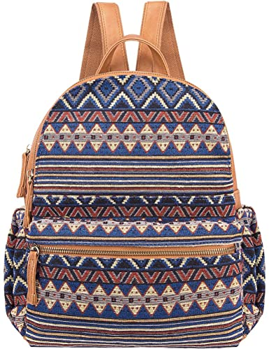 Cute Backpack for Women Canvas High School Daypack Casual Bookbags (Brown Rhomboids)