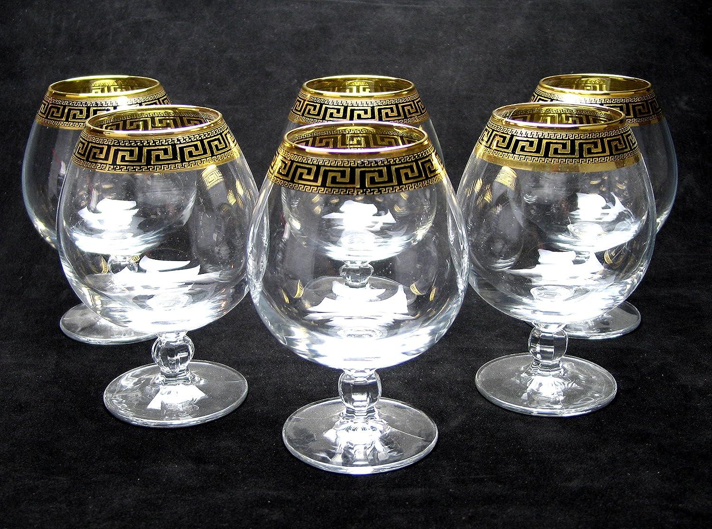 """Cristalleria Italian Decor"" Crystal Cognac Snifter Goblet, 17 oz. Gold and Black Greek Key Ornament, Hand Made in Italy, SET OF 6 Glasses Crystalleria italian Decor C1264/1785"