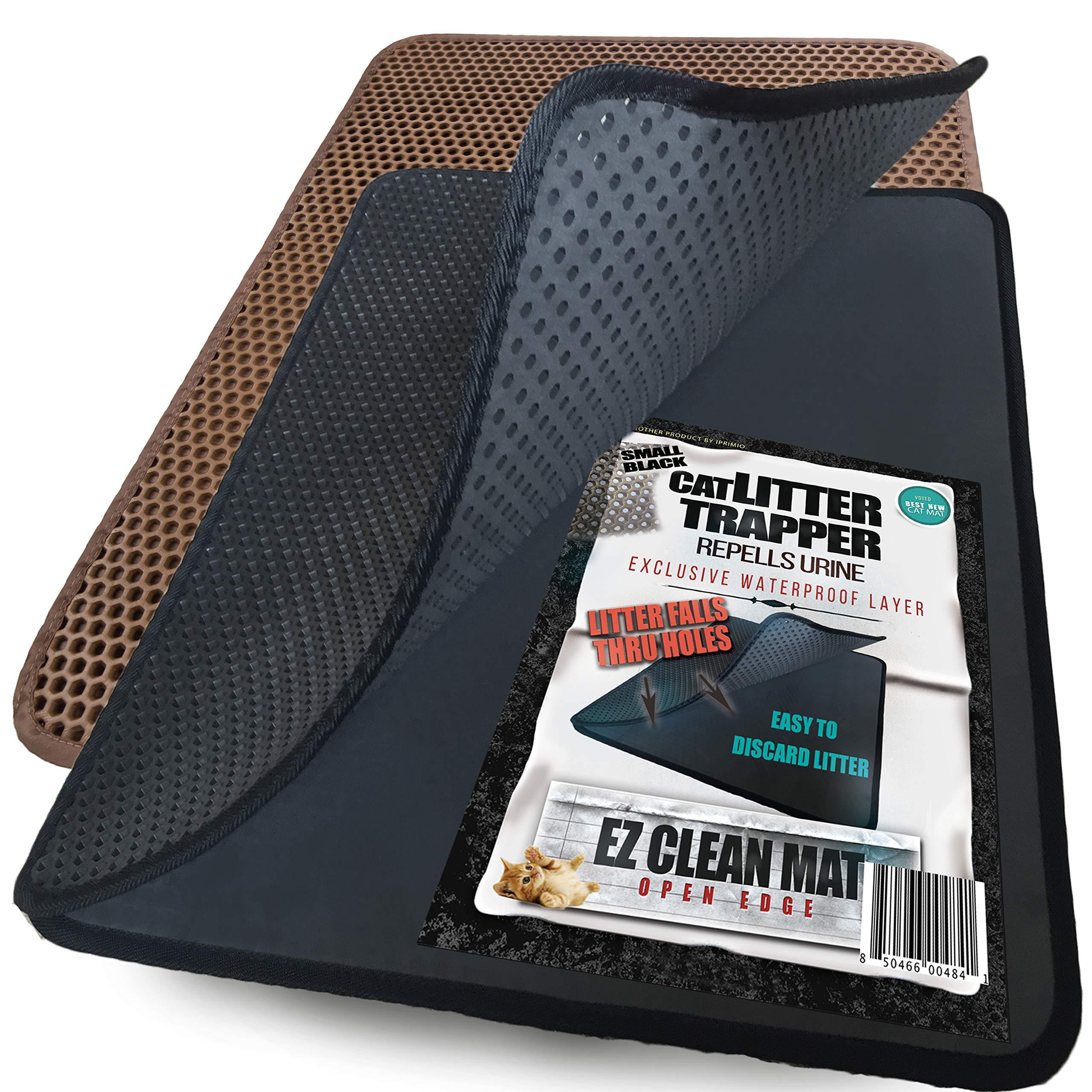 iPrimio Small Cat Litter Trapper Litter Mat, EZ Clean Cat Mat, Litter Box Mat Water Proof Layer and Puppy Pad Option. Patent Pending. (23''x21'' Black)