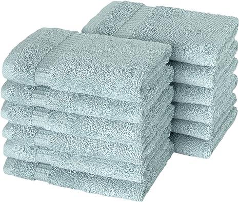 Amazon Com Salbakos Luxury Hotel Spa Turkish Cotton 12 Piece Washcloth Set For Bath Shower Toallas De Baño 13 X 13 Inch Seafoam Green Kitchen Dining