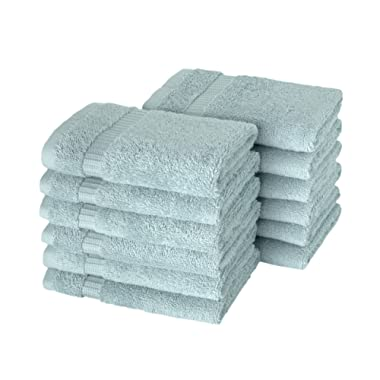 SALBAKOS Luxury Hotel & Spa Turkish Cotton 12-Piece Eco-Friendly Washcloth Set for Bath, 13 x 13 Inch, Seafoam Green