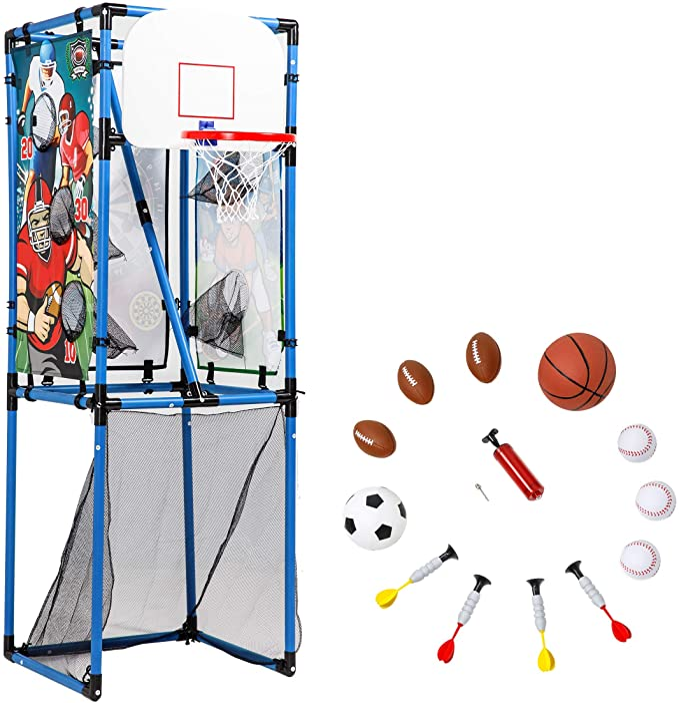 Openuye Kinderrutsche,5 in1 multifunktionale Kleinkinderrutsche mit Basketballkorb,Fu/ßballtor,Schaukel Kletterturm,f/ür Kinder ab 2 Jahren Rosa