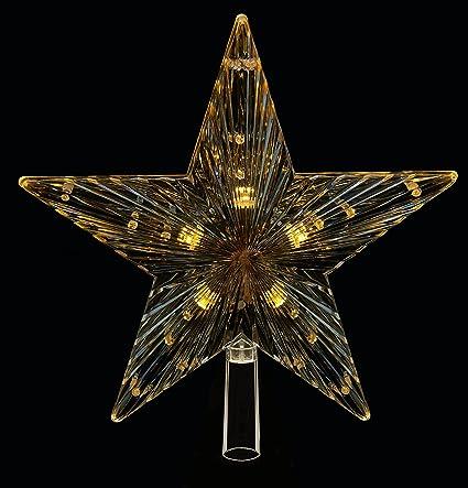 Stella Di Natale Luce.Argento Stella Di Natale Con Luci A Led Con Luce Bianca 24 Cm