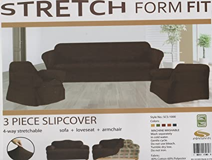 JERSEY STRETCH Form Fit Couch Cover 3 Pc Slipcover Set=Sofa+Loveseat+Chair  Covers-Chocolate BROWN color