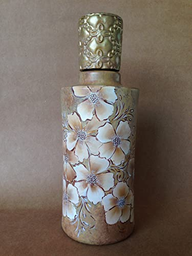 botella de cristal pintada a mano, con tapón en arcilla, pieza original