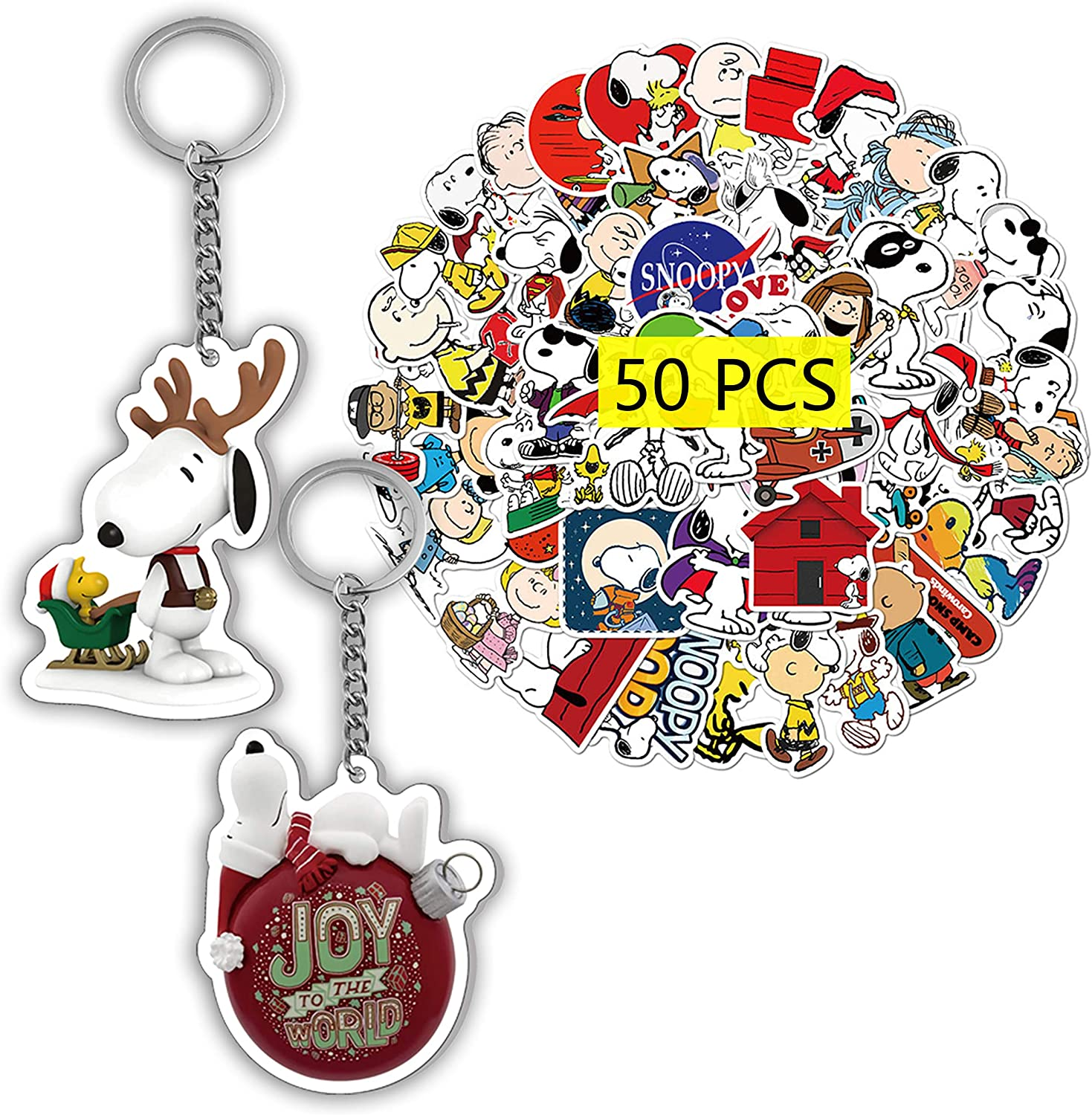 Kilmila Cute Snoopy Stickers 50Pcs(with Snoopy on Decorated Dog House Ornament Keychain ) Cute Stickers Snoopy Christmas Decorations Laptop Stickers