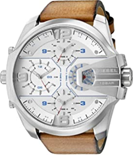 Diesel Mens Uber Chief Quartz Stainless Steel and Leather Casual Watch, Color: