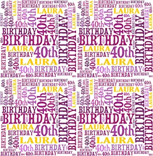 Personalised 40th Birthday Gift Wrap Any Name Age Word Art Design