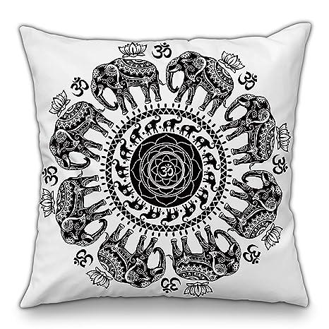 Moyun Blanco y Negro Serie Mandala Funda de cojín Decorativo Funda de Almohada Cojín Bohemio Hippie Elefante Complejo psicodélico Floral Sofá ...