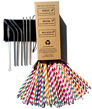 Pajitas de papel biodegradables x 150 unidades Bulk,6 pajitas de acero inoxidable reutilizables de