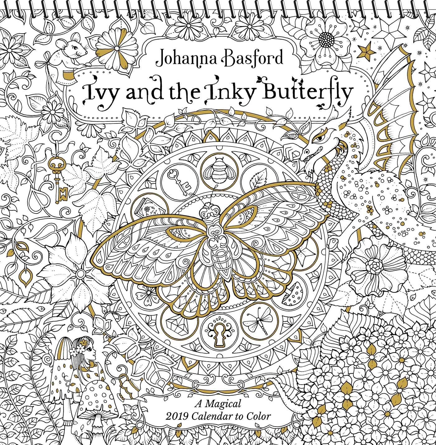 ivy and the inky butterfly 2019 coloring wall calendar a magical 2019 calendar to color johanna basford 9781449492458 amazoncom books