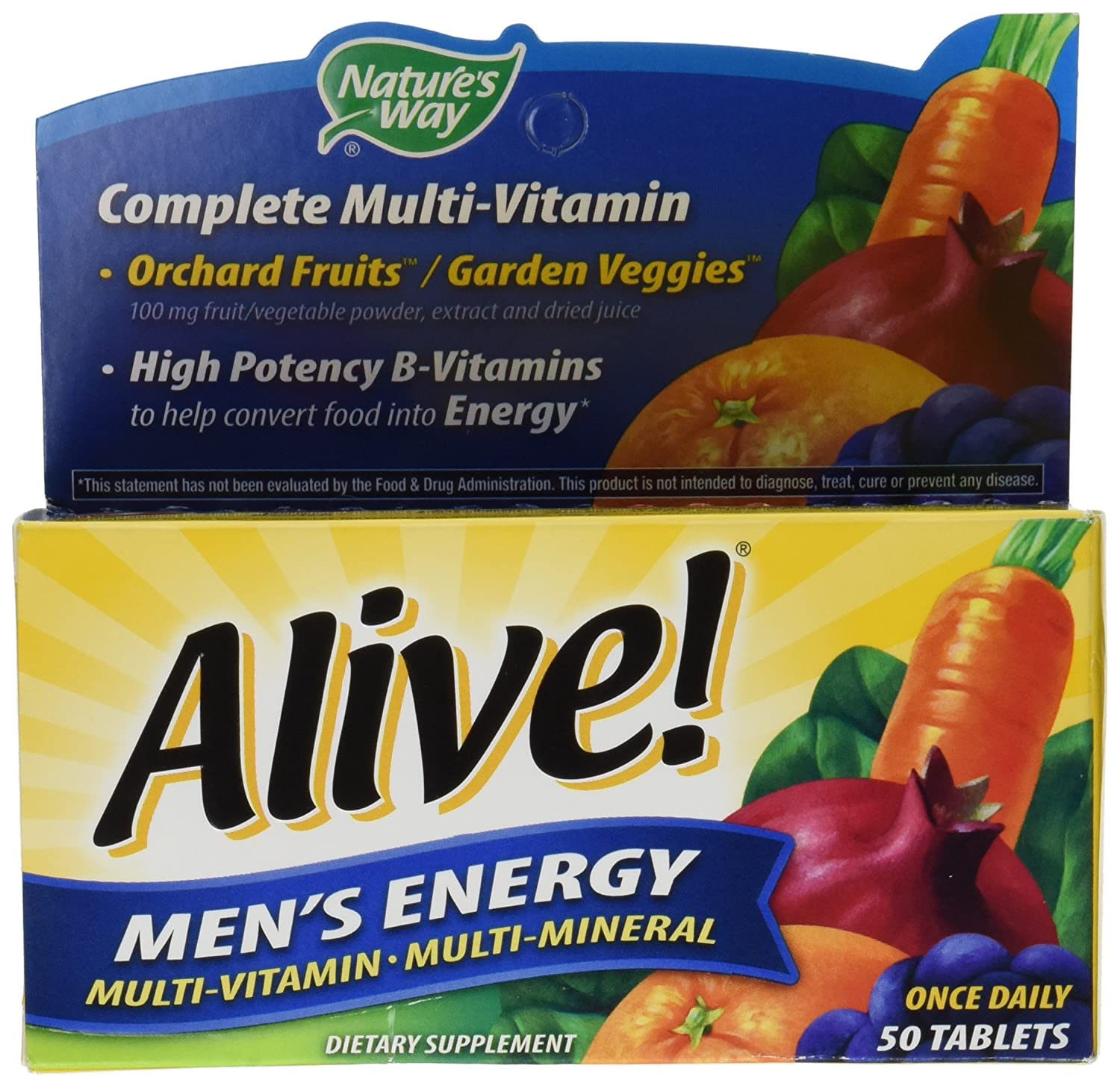 Natures Way, Alive! Mens Energy Multivitamin & Multimineral, x50tabs: Amazon.es: Salud y cuidado personal