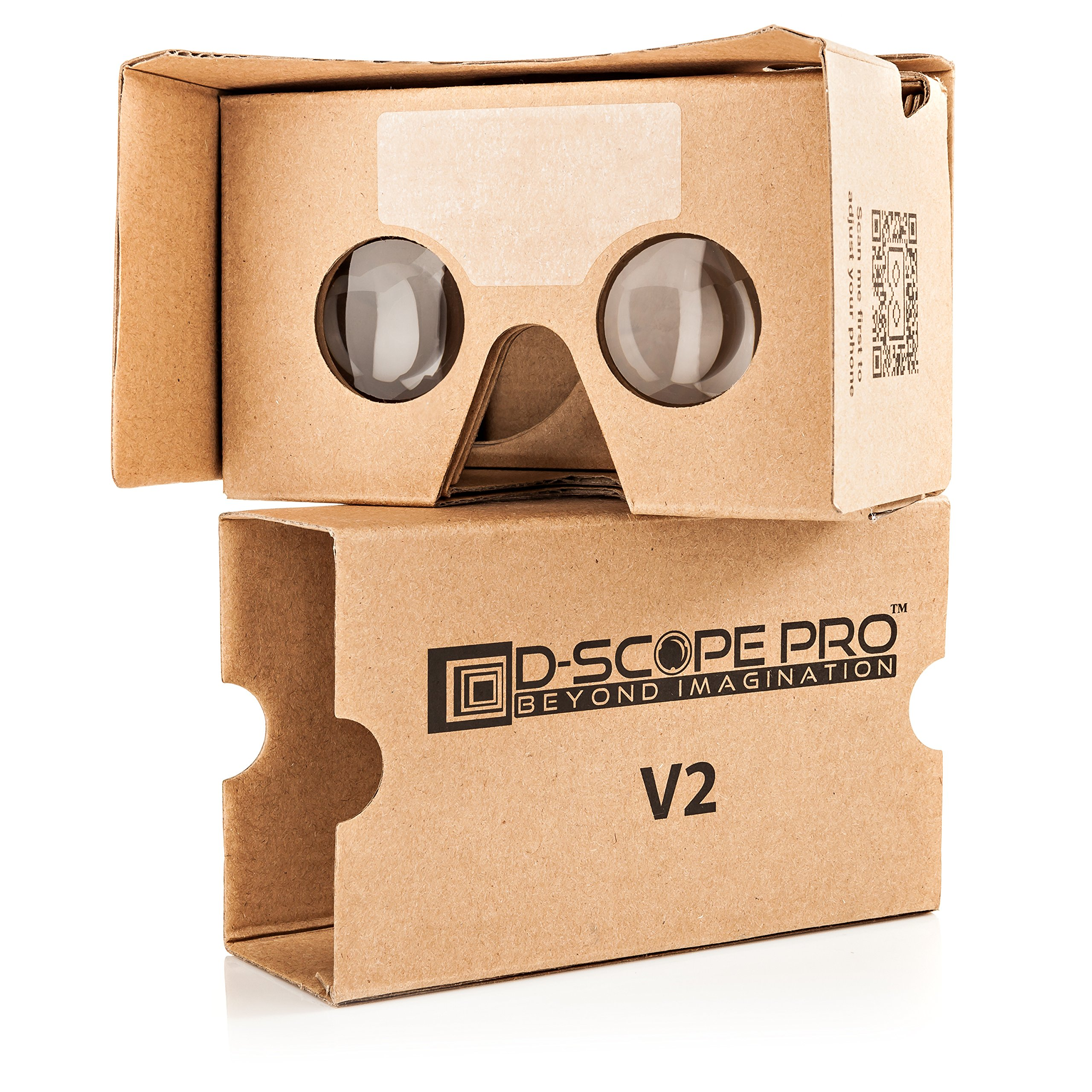 Google Cardboard V2 with Straps by D-scope Pro Virtual Reality Compatible with Android Apple Up to 6 Inch Easy Setup Machine Cut Quality Construction 37mm Lenses HD Visual Experience Includes QR Codes by D-SCOPE Pro