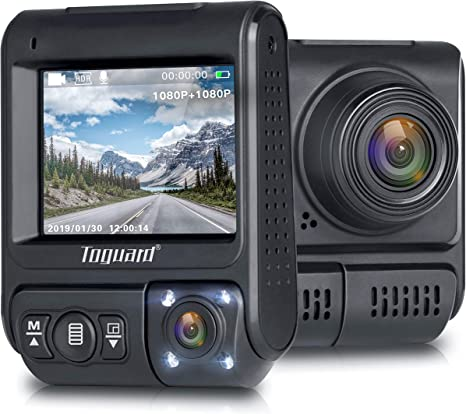 TOGUARD Dual Lens Dash Cam Infrared Night Vision Car Driving Recorder FHD Dual 1920x1080P Front and Cabin Dash Camera 2