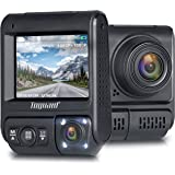 """TOGUARD Dual Lens Dash Cam Infrared Night Vision Car Driving Recorder FHD Dual 1920x1080P Front and Cabin Dash Camera 2"""" 330° Car Camera with G-Sensor, WDR, Motion Detection for Uber Lyft Car Taxi"""