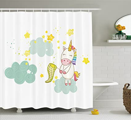 Ambesonne Unicorn Shower Curtain Baby Girl Sitting On Fluffy Clouds And Hunting Nursery Image