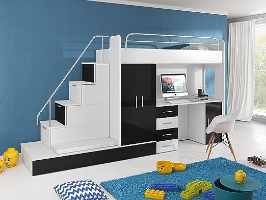 Cama alta TOMI – escritorio, armario, escalera y cama de invitados ...