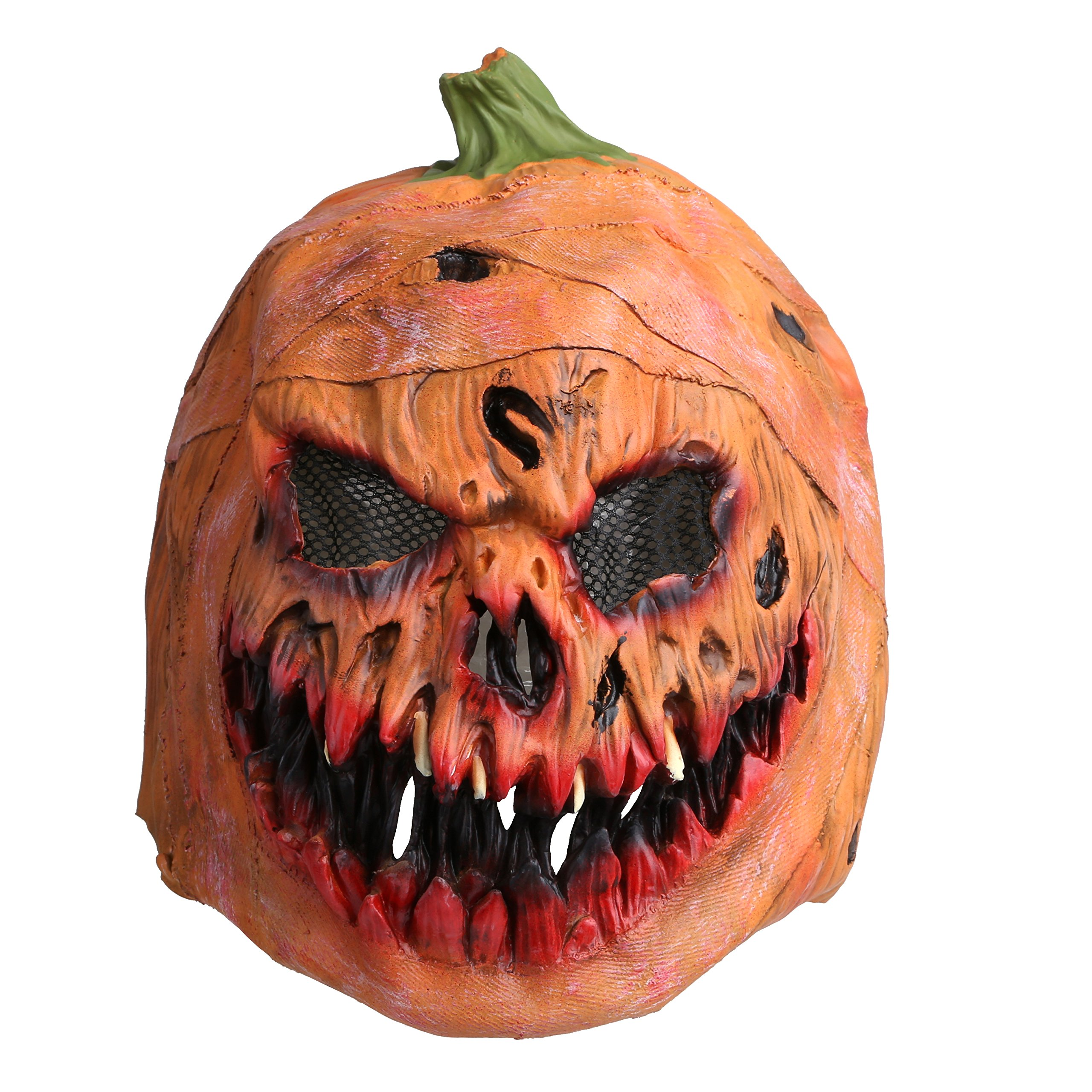 Pumpkin Head Mask, Latex Scarlet Scary Mask with Mesh Props for Masquerade Halloween by Smays