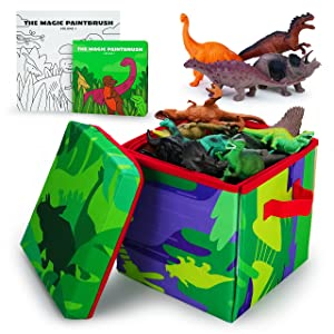 Boley Dino Play Mat and Toy Storage Box - 8 Piece Playset with Foldable Dinosaur Floor Playmat/Storage Box, Plastic Dinosaur Figures, and Dinosaur Books - Kids Play Mats for Toddlers Ages 3+