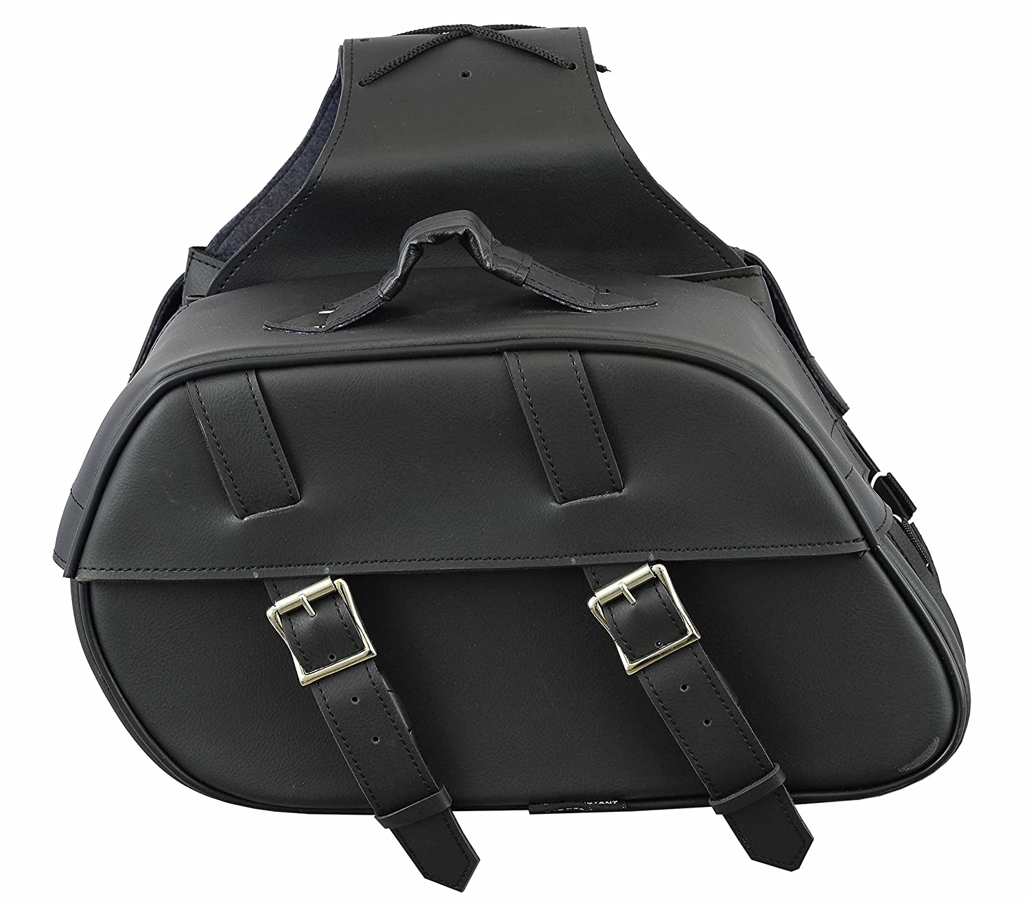 577 Genuine Leather Series - Profirst Waterproof Motorbike Saddle Bag Panniers Luggage Box Heavy Duty Sissy Bar Frilled Panniers Product Touring Cruisers Motorcycles - Full Black Pro First 577 Leather
