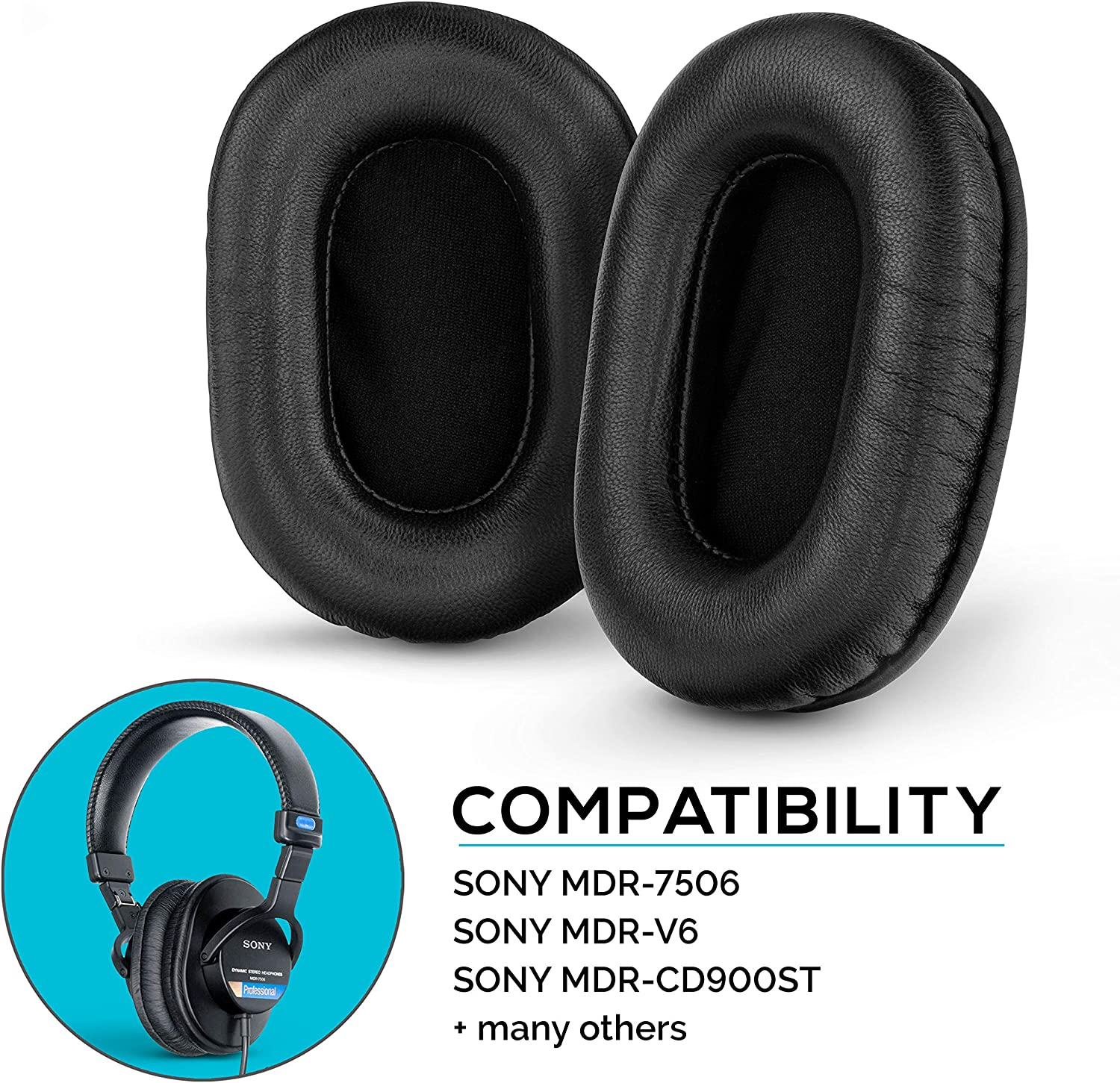 Brainwavz Sheepskin Leather Earpads for Sony MDR 7506 - V6 - CD900ST with Memory Foam Ear Pad & Suitable for Other On Ear Headphones