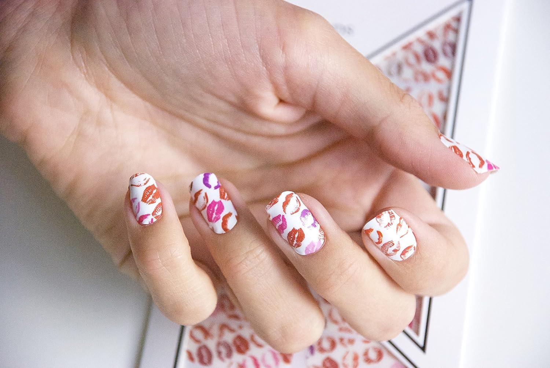Miss Sophie\'s rot-weiß pink Nagel-Folien Kiss Kiss: Nagel-Design ...