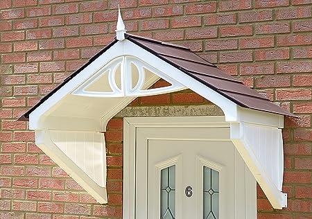 Clarendon Storm Porch Door Canopy (White Frame Brown Tiles): Amazon ...