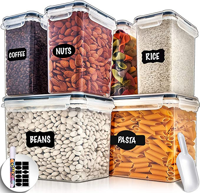 Amazon.com: Large Airtight Food Storage Containers with Lids - Air Tight Containers for Food Flour Container Kitchen Storage Containers for Pantry Containers Flour Storage Containers Airtight Containers Set of 6: Kitchen & Dining