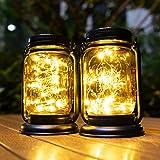 Hanging Solar Lantern Lights 2 Pack,Vintage Mason Jar Solar Lights Outdoor Decorative Waterproof Table Light for Patio Yard L