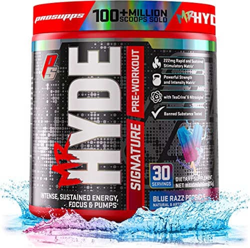 ProSupps Mr. Hyde Signature Pre-Workout Energy Drink Intense Sustained Energy, Focus Pumps with Beta Alanine, Creatine, Nitrosigine TeaCrine 30 Servings, Blue Razz Popsicle