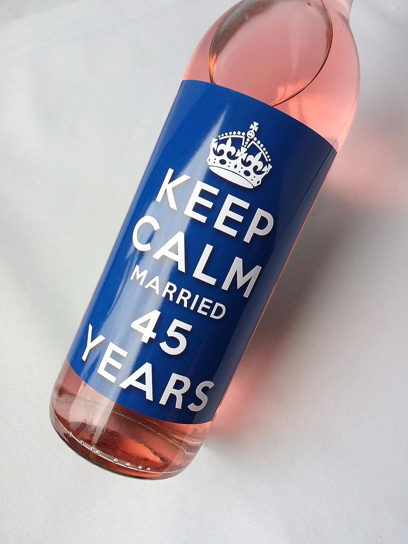 Keep Calm saphir 45ème anniversaire de mariage avec étiquette d'anniversaire pour bouteille de vin pour femme et homme.