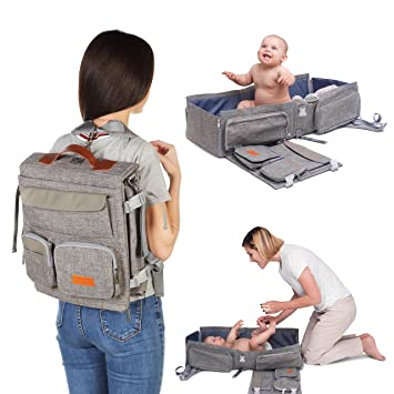 34b5fa6b951e Travel Bassinet - 3 in 1 Diaper Bag Backpack - Portable Baby Travel Bed -  Mobile Changing Station - Crib...
