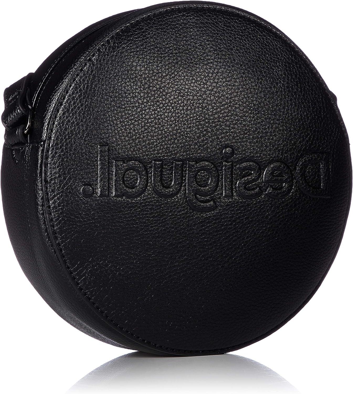 Desigual taille 23 cm 20saxp47 Sac rond bandouli/ère rock femme en simili cuir noir