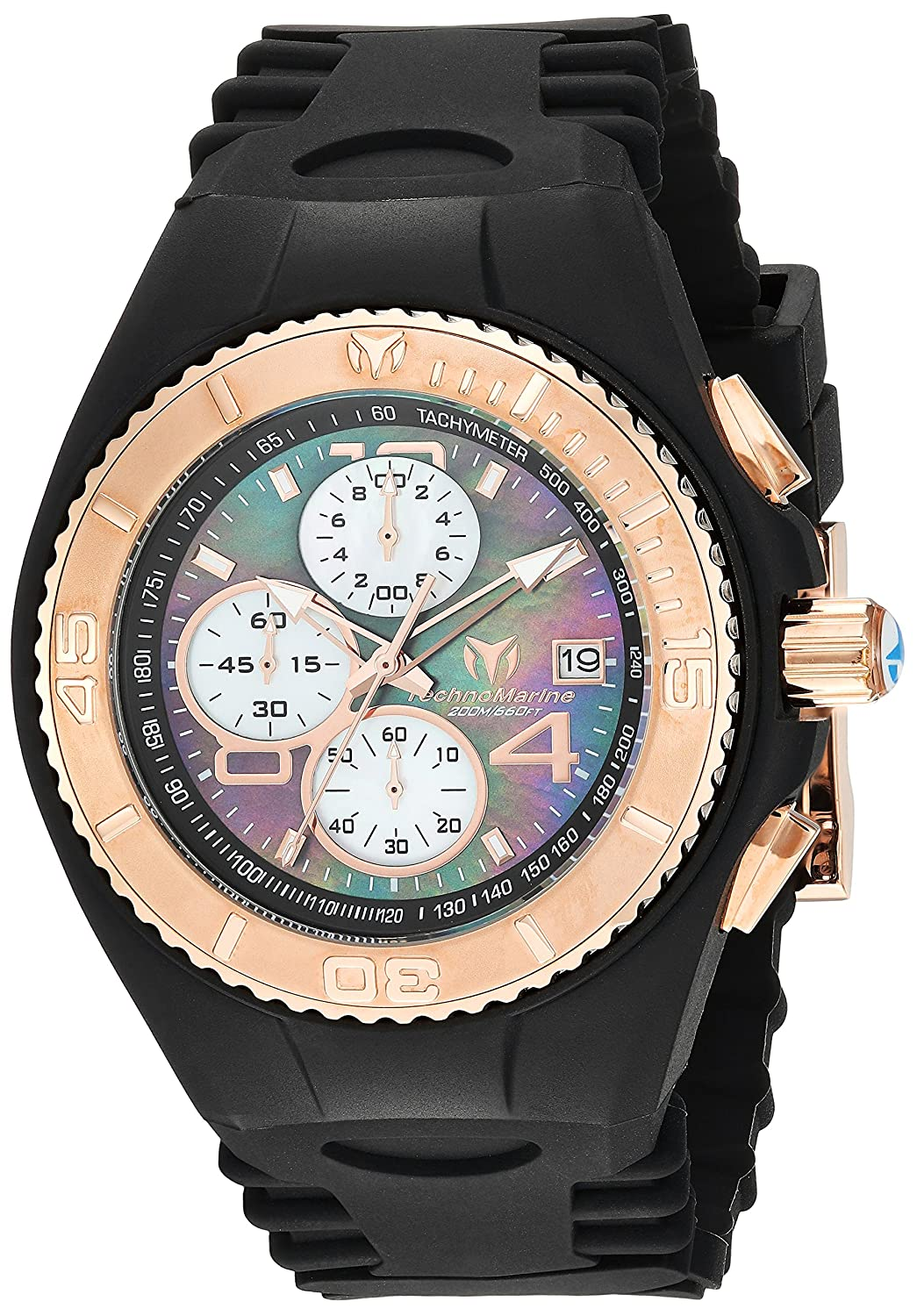 Amazon.com: Technomarine Mens Cruise Quartz Stainless Steel and Silicone Casual Watch, Color:Black (Model: TM-115350): Watches