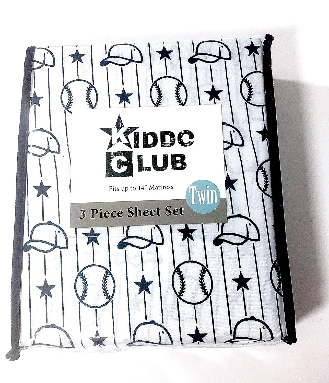 Twin Twin//Full Kiddo Club Baseball Themed Black and White Sheet Set