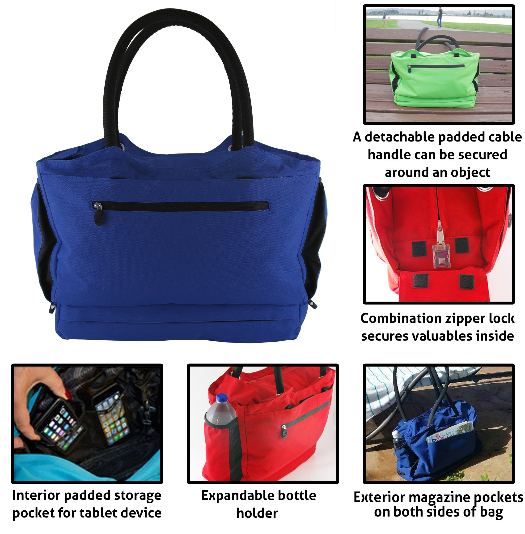 CoolBag Gen 2 Locking Anti-Theft Travel Tote With Insulated Cooler Compartment (Barbados Blue) by CoolBag (Image #2)