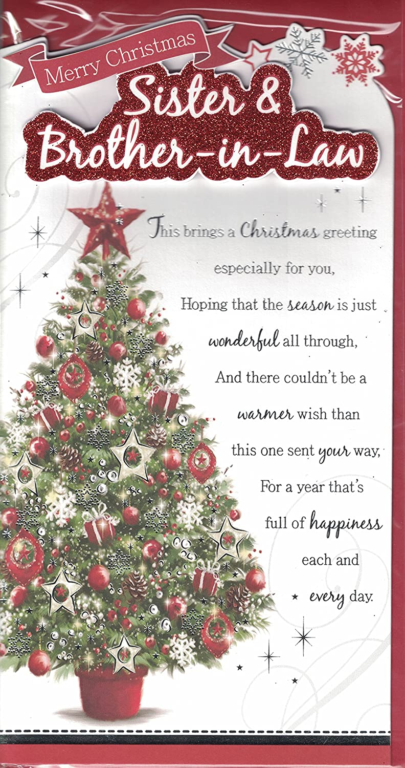 Sister and brother in law christmas card merry christmas sister sister and brother in law christmas card merry christmas sister and brother in law traditional christmas tree slim card amazon toys games m4hsunfo