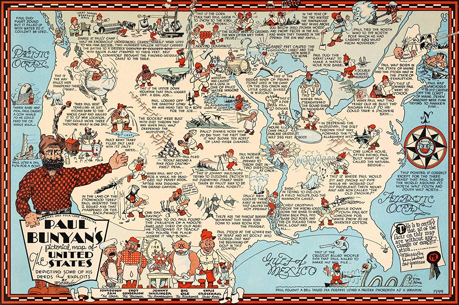 Amazon.com: Historic Map | Paul Bunyan\'s pictorial map of The United ...