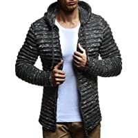 LEIF NELSON Men's Knit Jacket with Hood Knitt Zip up Cardigan Hoodie LN20724