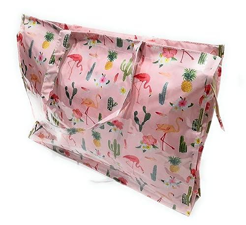 BRANDELIA Bolsos Grandes Plástico Playa Compras Mujer Bolso Impermeable con Cremallera, Varios Modelos y Colores