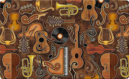 Toland Home Garden Joyful Noise 18 x 30 Inch Decorative Music Floor Mat Instrument Collage Doormat – 800193