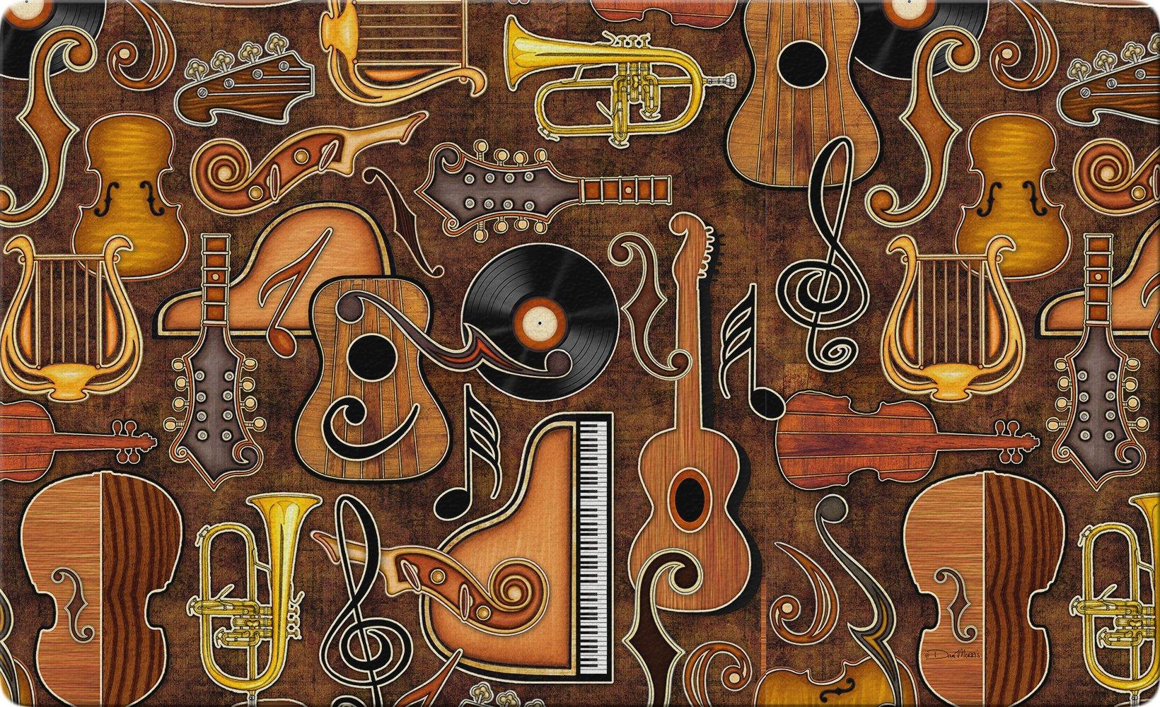 Toland Home Garden Joyful Noise 18 x 30 Inch Decorative Music Floor Mat Instrument Collage Doormat