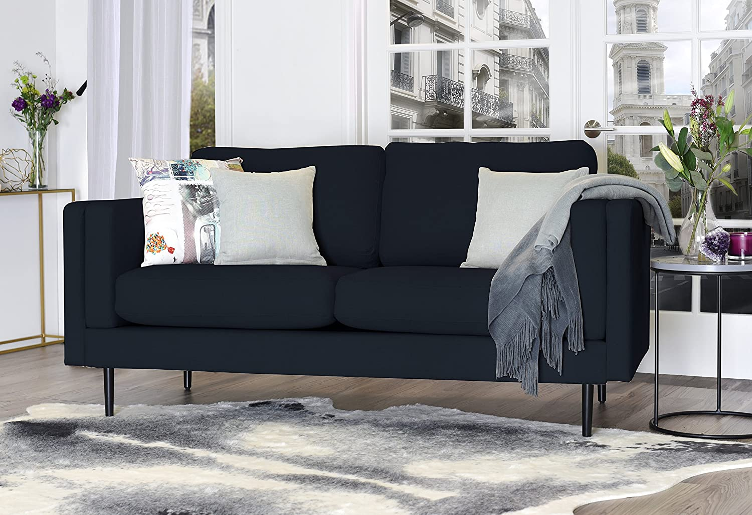 Elle Decor Simone Sofa - French Cobalt Velvet