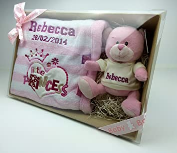 Personalised teddy blanket gift set in presentation gift box personalised teddy blanket gift set in presentation gift box great baby gift negle Choice Image
