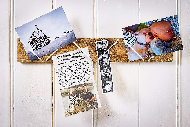 Bilderleiste für Fotos, Fotoleiste Memoboard Wandorganizer Altholz mit Gummizug in weiß aus Holz alter Obstkiste, Handmade, Unikat Bilderleiste für Fotos