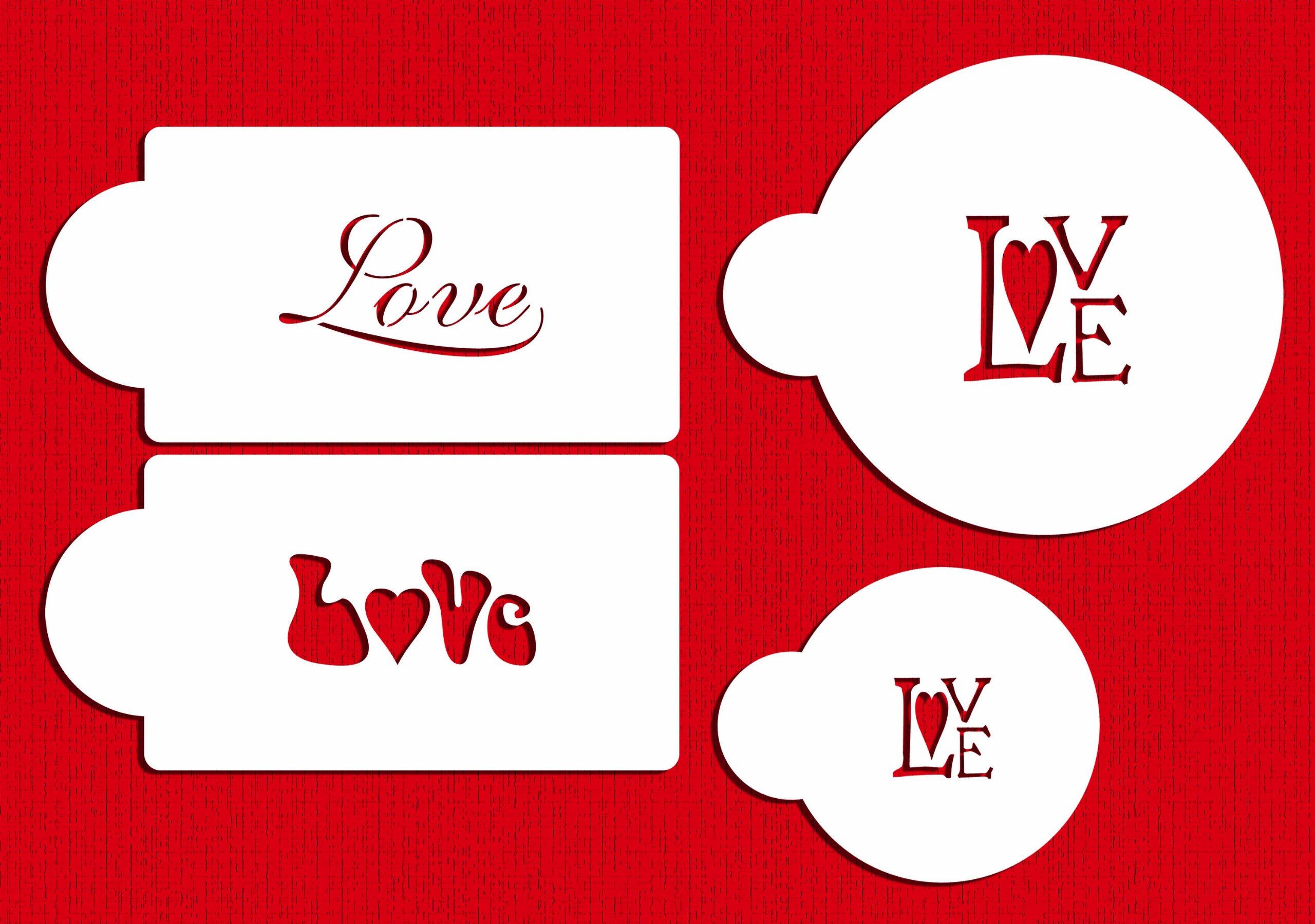 Designer Stencils C256 Love Cookie and Cupcake Stencil, Beige/semi-transparent