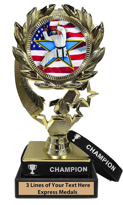Express メダル 空手トロフィー 着脱可能 着用可能 チャンピオンリストバンド 大理石ベース 刻印プレート付き B07KN4JW88