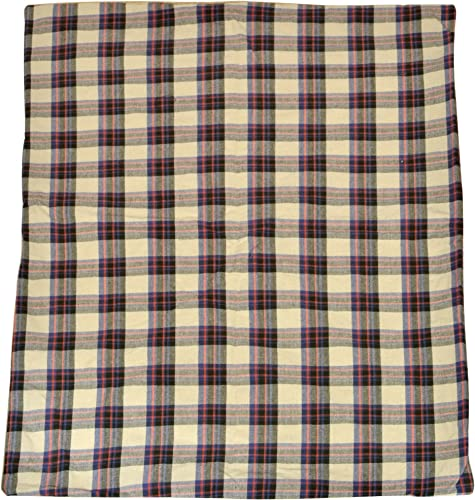 Smart Design Deluxe Pet Bed Cover w Zipper Liner – Plaid Polyester Cotton Fleece – Reversible Design – for Dogs, Cats, Other Pets – Home 28.5 x 42 Inch Plaid